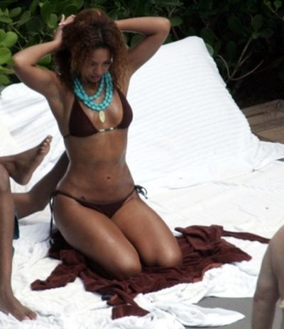 Beyonce Knowles in Brown Bikini