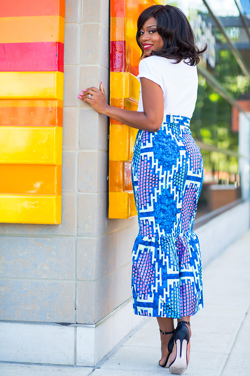 Peplum skirt and graphic print tee