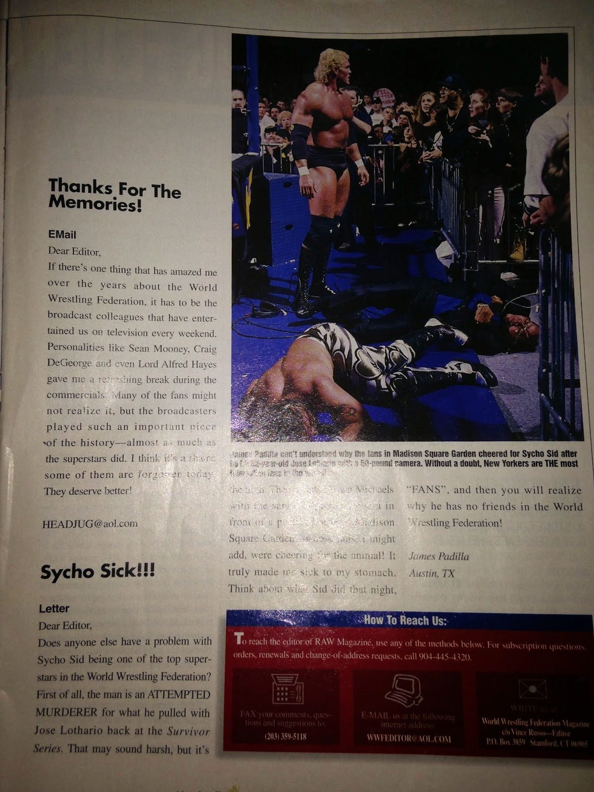 WWE - WWF Raw Magazine - March/April 1997 - Letters to the editor ft. Sycho Sid