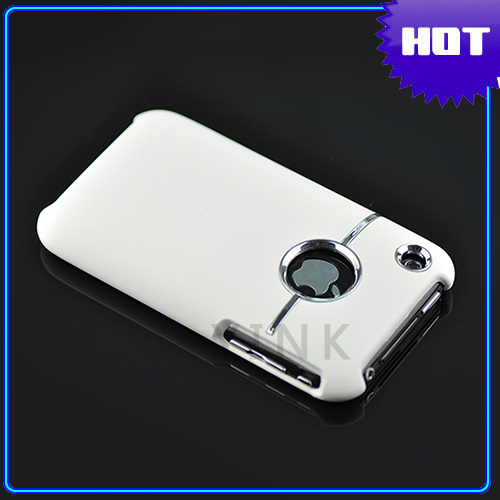 WHITE DELUXE HARD CASE COVER W/CHROME FOR iPhone 3G 3GS