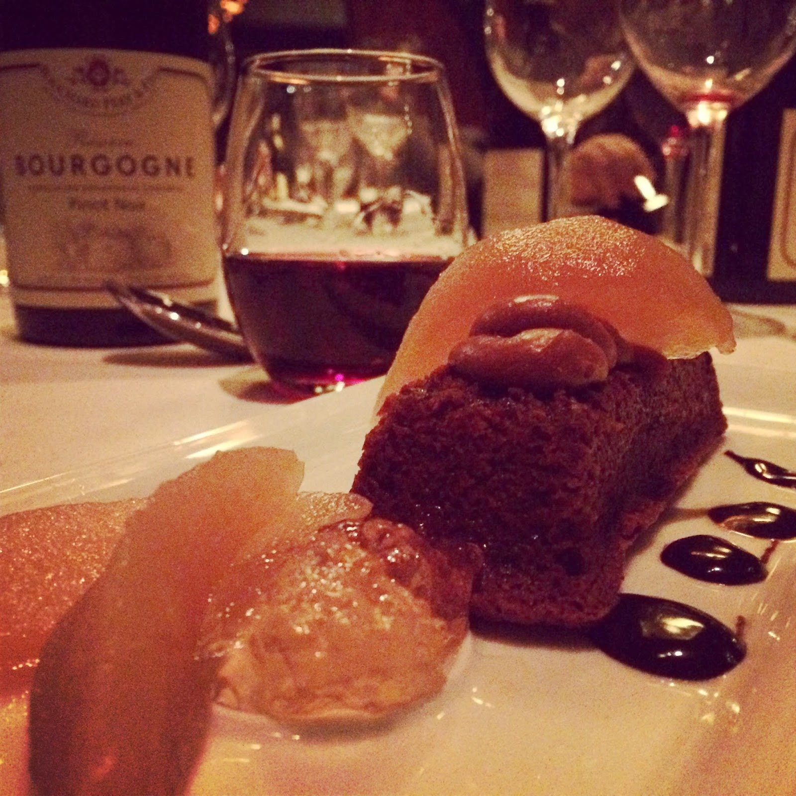 Dessert: Chocolate cake with hazelnut creme and poached pears