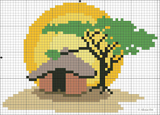 Sunset in Africa pattern in blocks. Free cross-stitch patterns, http://x-stitchmagic.blogspot.it/