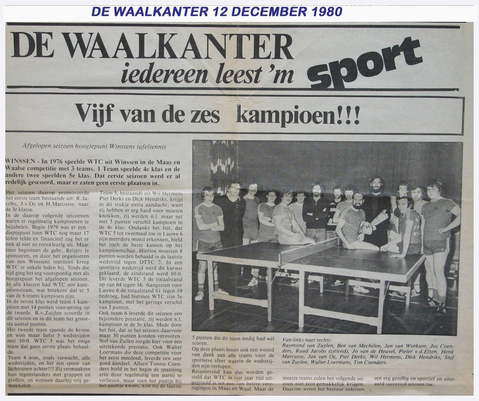 Vijf van de zes kampioen (1980)!