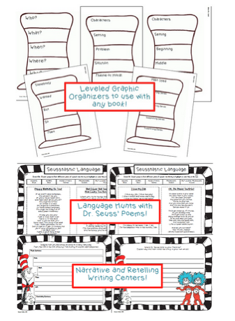 https://www.teacherspayteachers.com/Product/Dr-Seuss-Reading-Language-and-Writing-Activity-Pack-1138143