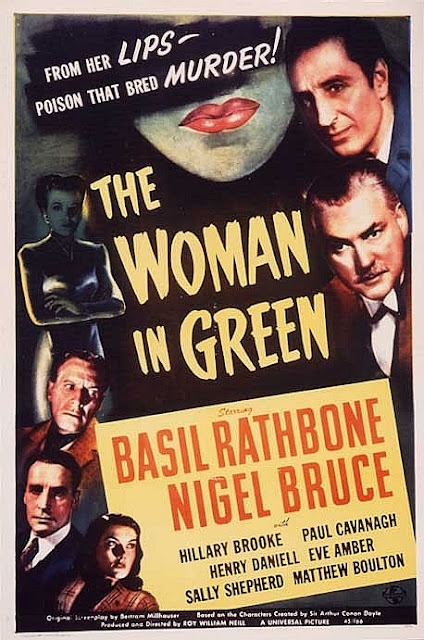 Sherlock Holmes And The Woman in Green Vintage Poster