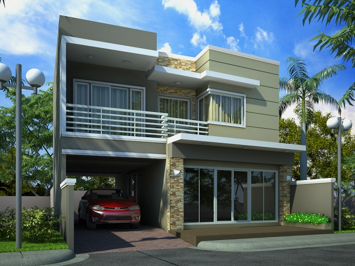 Modern front elevations india ayanahouse Indian modern home design images