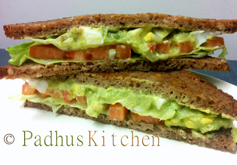 Boiled Egg Guacamole Sandwich