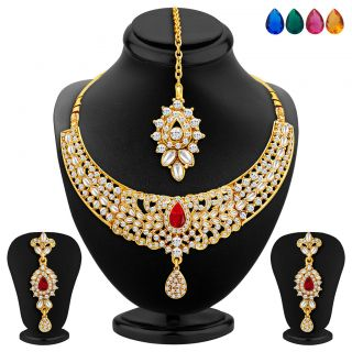 Gold plated necklace set online at low price