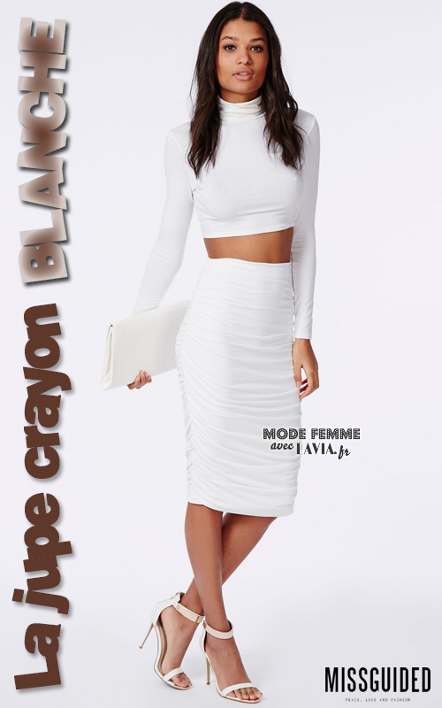 Jupe crayon taille haute blanche