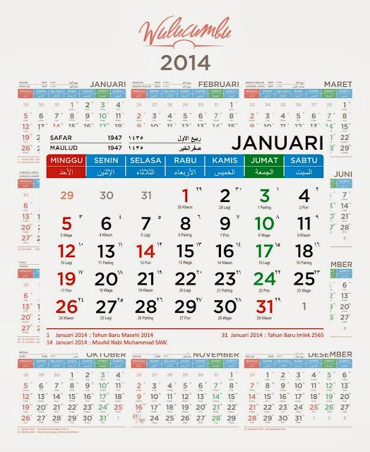 Kalender 2014 Gratis, Lengkap dengan Hari Libur Nasional, Penanggalan