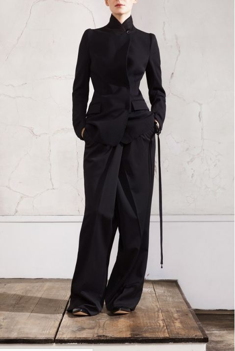 Maison Martin Margiela for HM, Black oversized men's trousers, black leather ballerina pump, black fitted blazer, designer collaboration, amazing fashion, unique style, fashion, style