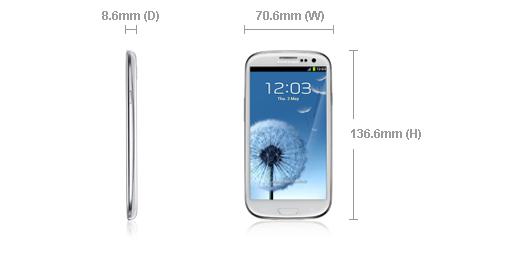 Samsung Galaxy S3 dimensions