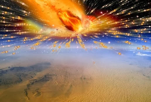 This is an artists rendition of the comet exploding in Earths atmosphere above Egypt.