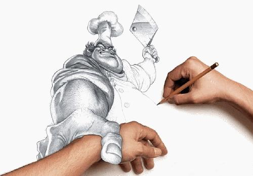 lukis gambar pemandangan guna jari