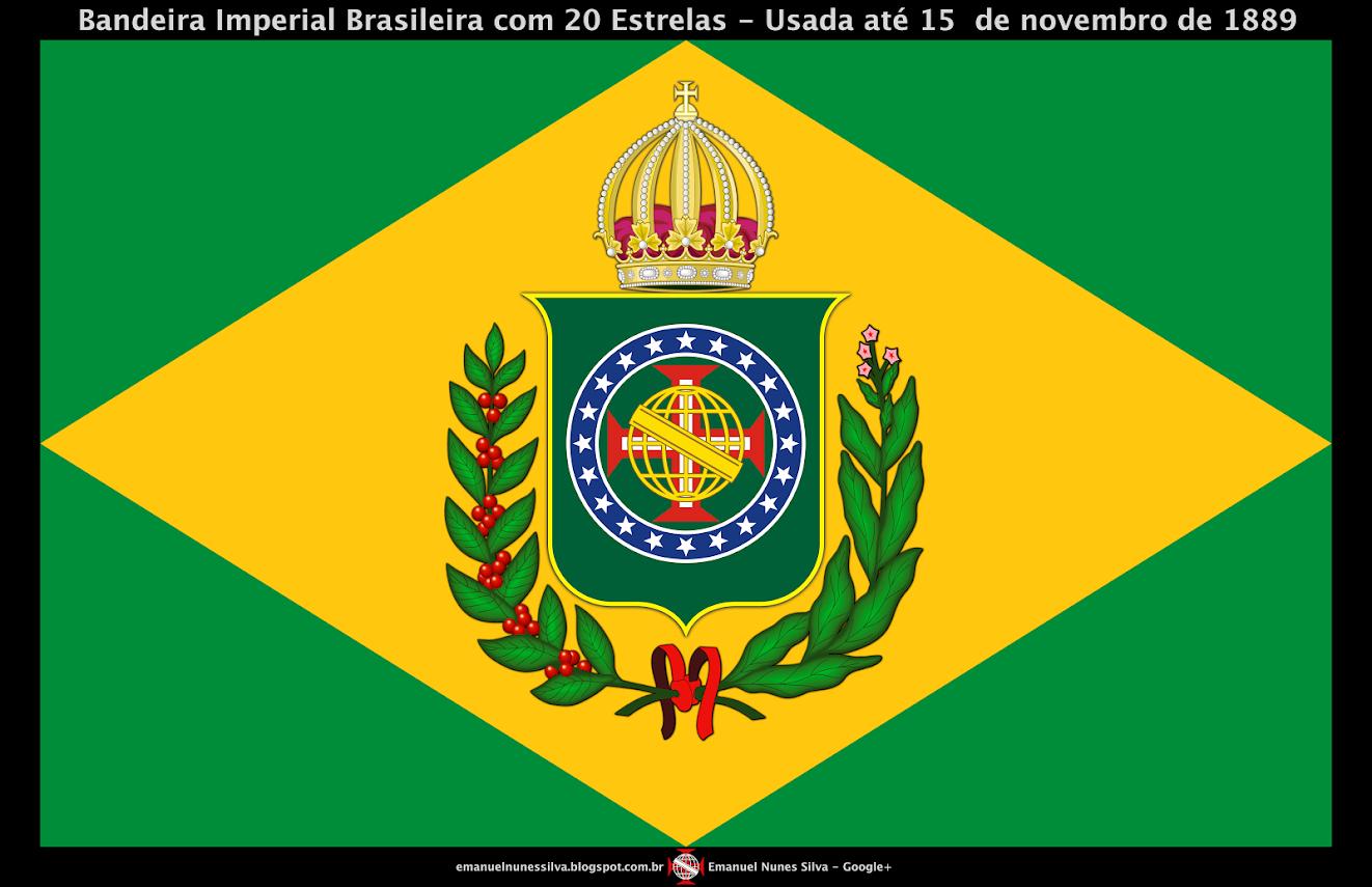 Bandeira do Brasil Imperial - Modelo (10 X 16) - Até 1889 - Crédito: Emanuel Nunes Silva