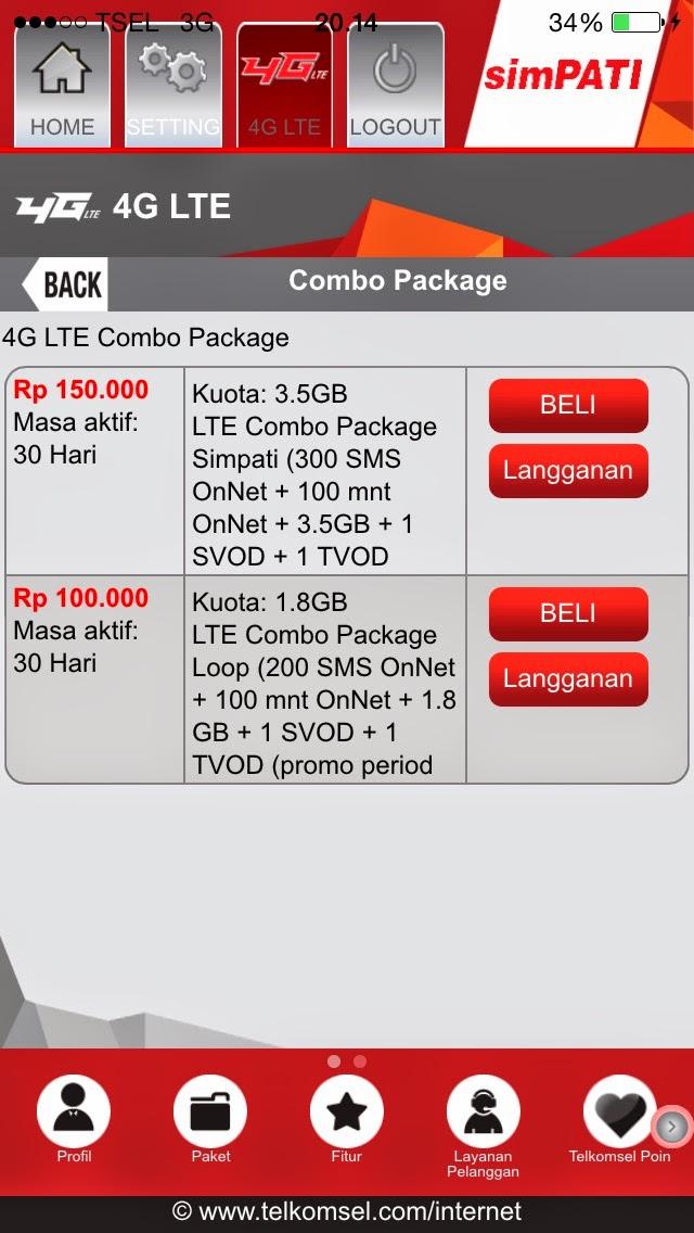 paket internet jaringan 4g lte combo telkomsel