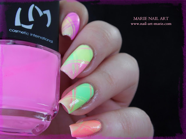 Nail Art Ecossais Pastel Fluo2