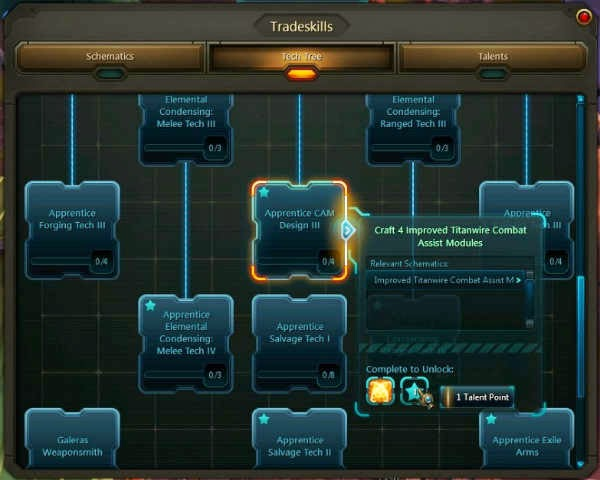 Wildstar Beta Tech Tree Tradeskills Crafting
