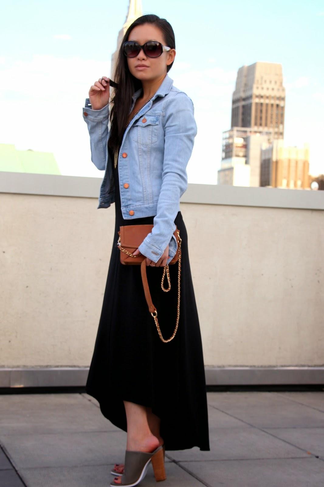 Black maxi dress denim jacket