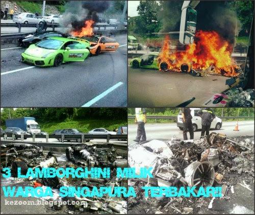 Gambar- 3 Lamborghini Milik Warga Singapura Rentung Terbakar