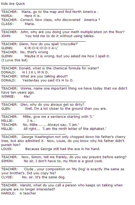 Funny Conversation between Teacher and Students