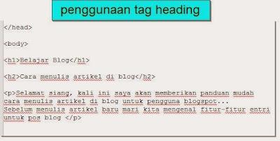 cara penggunaan tag heading di artikel blog