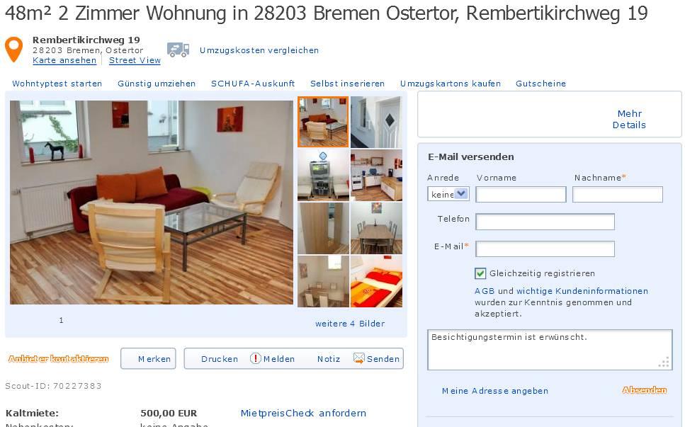 48m 2 zimmer wohnung in 28203 bremen ostertor rembertikirchweg 19. Black Bedroom Furniture Sets. Home Design Ideas