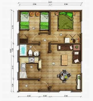 Planos de casas planos de casa de 51 m2 for Planos de cocina living comedor
