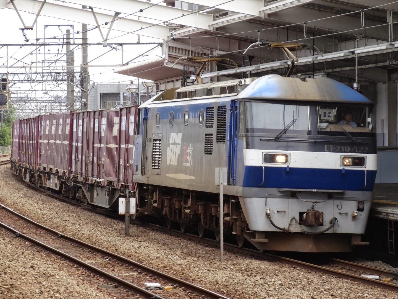 武蔵野線新座駅を通過するEF210形牽引の貨物列車