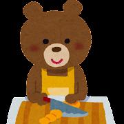 料理をするクマのキャラクターのイラスト