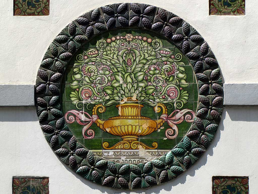 Tile work on the façade of a building, Livorno