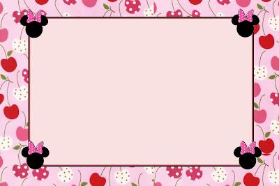 Tarjeta de Minnie con cerezas.