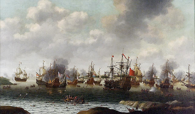 A painting of a naval battle