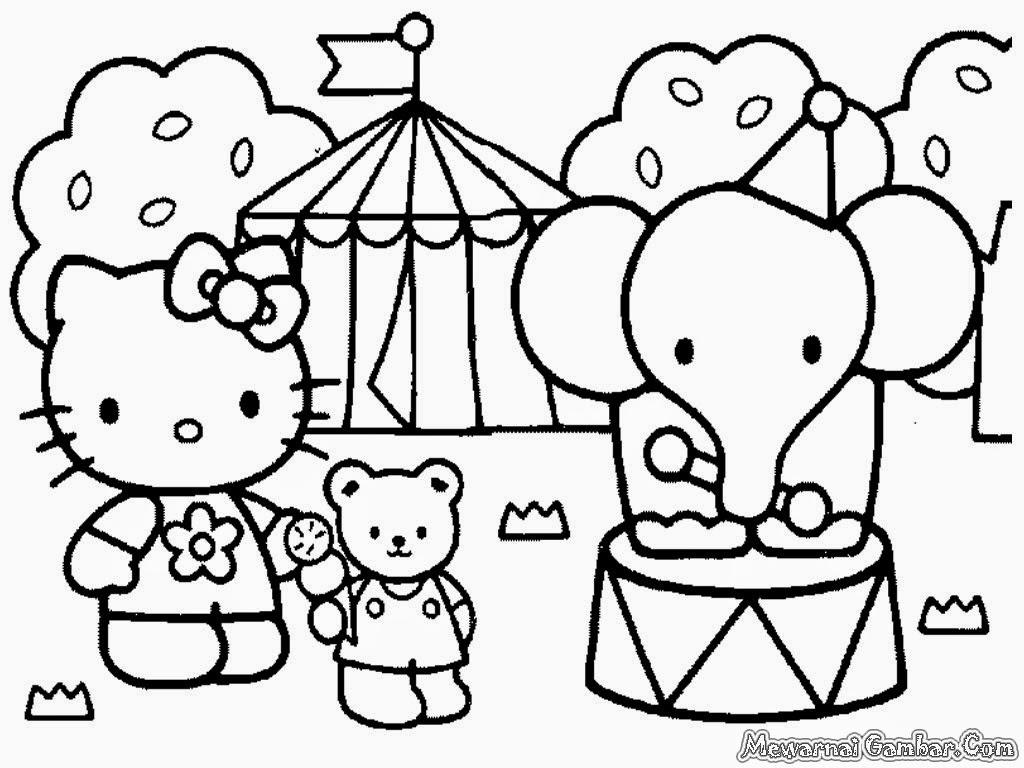 Gambar Mewarnai Kartun Hello Kitty