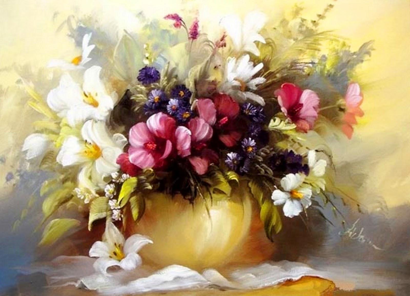 de flores al óleo el pintor de las flores primaverales