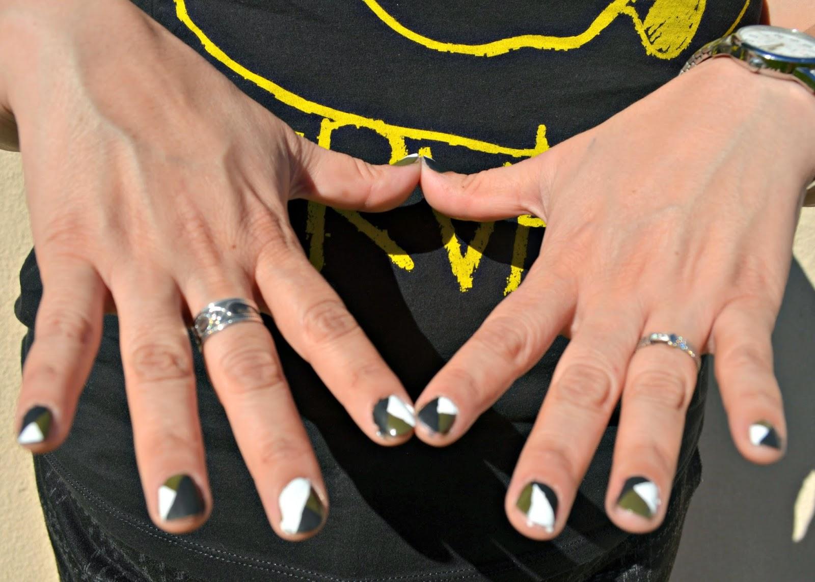 acrylic paint, nail polish, brush, 3 colors, sally hansen, cid style file, nail art