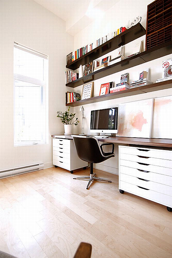 brown and natural color. organised home office