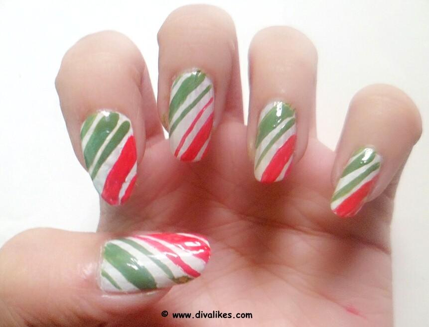 Candy Cane Nail Art Tutorial Diva Likes
