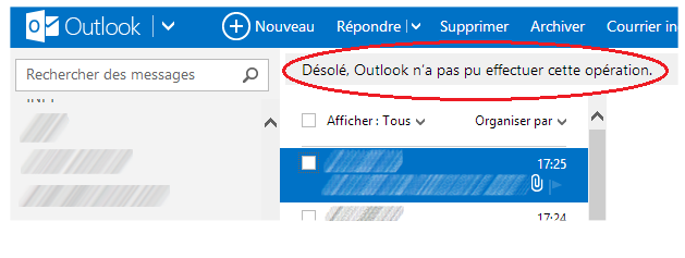 capture d'écran Outlook.com