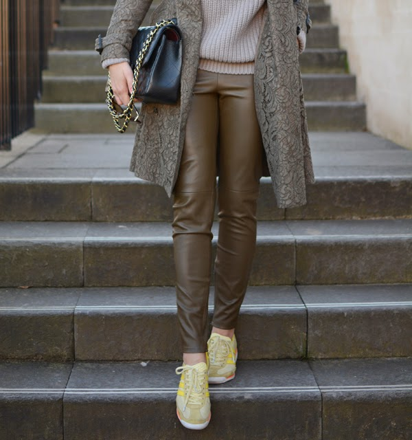 Outfit Leather Pants, Burberry Lace Coat And Chanel Classic 4
