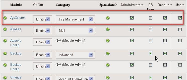 enable module Ajaxplorer untuk Administrator, reseller dan client,