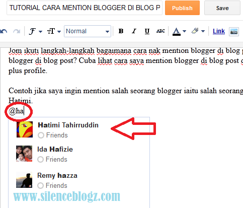 TUTORIAL CARA MENTION BLOGGER DI BLOG POST
