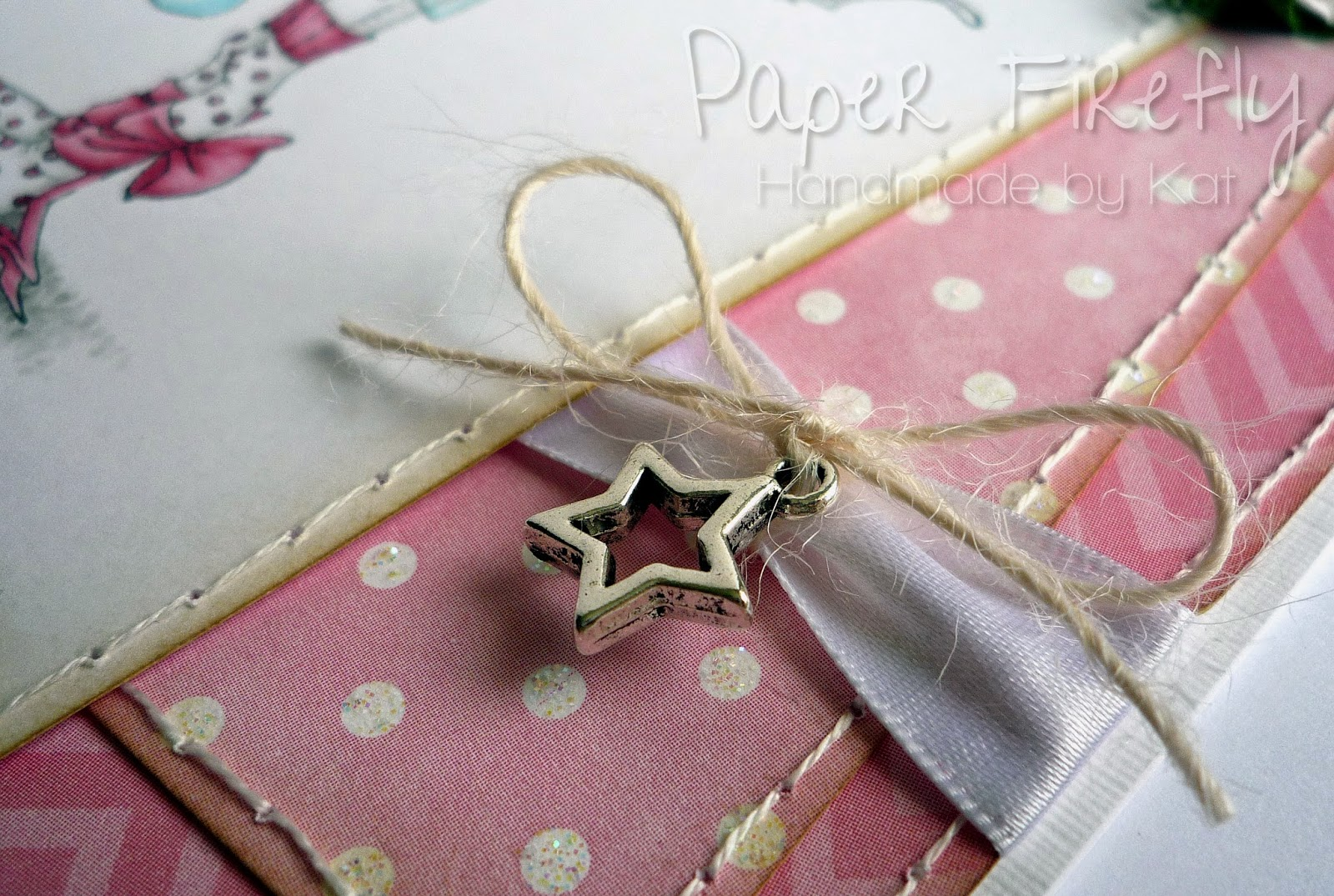 Star charm detail from pink, girly, fairy card featuring Tilly by Saturated Canary