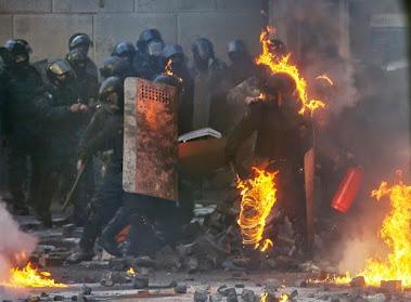 KIEV COP IN FLAMES