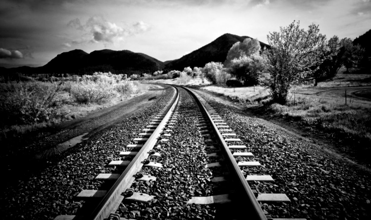 Black And White Railroads Wallpaper  1366x768  ID40669