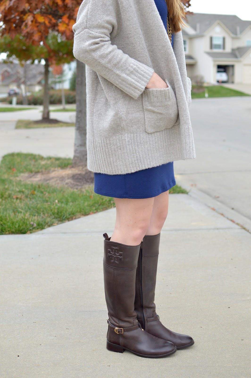 tory burch riding boots with a sweater for winter