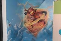 Malowanie na ścianie ludzików lego z bajki ninjago, graffiti w pokoju chłopca na poddaszu