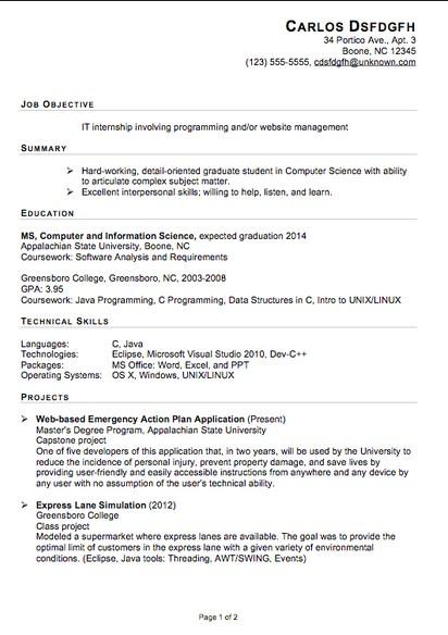 career objective for internship