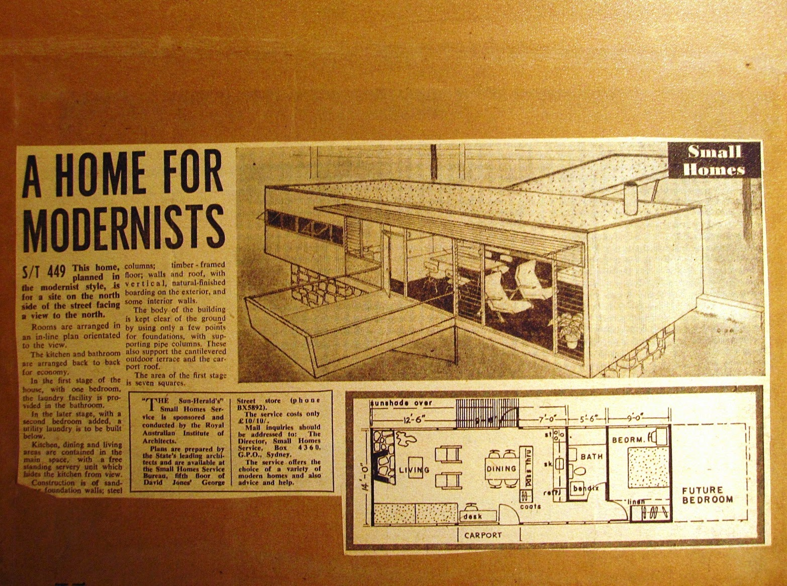 Newspaper plans for a modernist house in the exhibition 'Dream Home Small Home'.