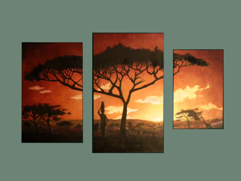 Tríptico de paisaje africano